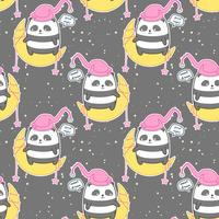 Seamless kawaii panda on the moon says good night pattern vector