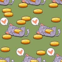 Seamless cat and coins pattern.