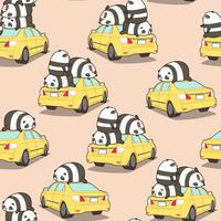 Naadloze panda's op het gele autopatroon.
