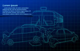 Car accident outline on blueprint background.