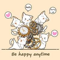 Kawaii Katzen und Uhr