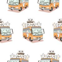 Seamless cute cats and panda and bus pattern.