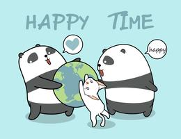 Kawaii pandas and cat loves the world