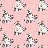 Seamless giant cat and small pandas pattern
