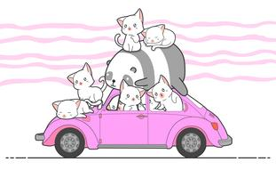 drawn kawaii cats and panda with car.