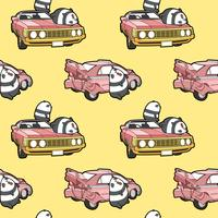 Seamless kawaii pandas and car pattern