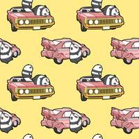 Seamless kawaii pandas and car pattern