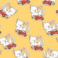 Naadloze kawaii kat houdt van vintage auto patroon.