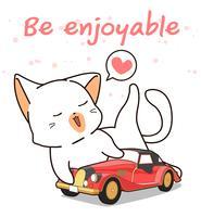 Kawaii katt älskar vintagebil