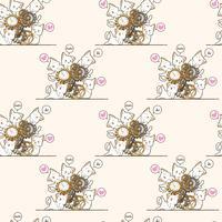 Seamless kawaii cats and clock pattern