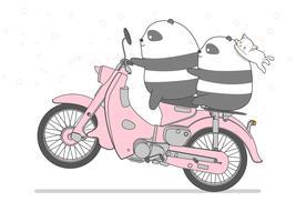 Panda rijdt op motorfiets in cartoon-stijl.