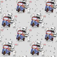 Pandas kawaii sin fisuras y gatos con patrón de triciclo de motor