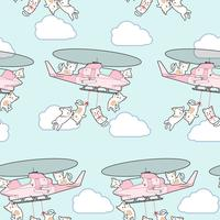 Seamless kawaii cats on helicopter pattern.