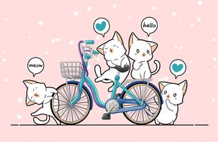 Gatos kawaii e bicicleta em estilo cartoon.