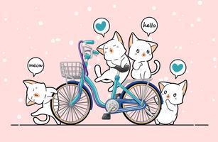 Gatti e biciclette Kawaii in stile cartoon.