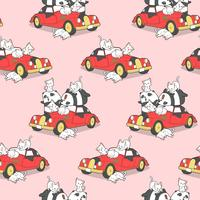 Seamless animal family and red vintage car pattern.