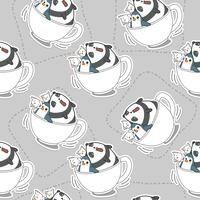 Seamless animals in cap of coffee pattern.