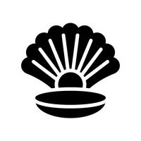 Seashell with pearl vector, tropical related solid style icon