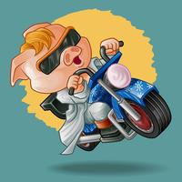 Rider pig in cartoon style.