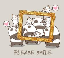 Kawaii pandas and cats with a luxury frame