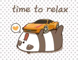 Kawaii panda älskar super bil