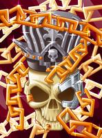 King skull background in cartoon style.