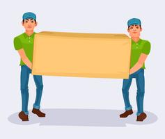 Two men carries a cardboard box