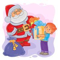 Vector illustratie van de kerstman en kleine jongen