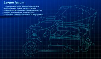 Vehicle outline on blueprint background.