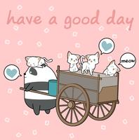 Kawaii cats and panda with freight vehicle vector