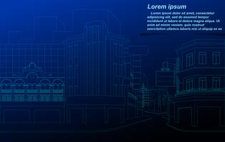 Cityscape wireframe on blueprint background.