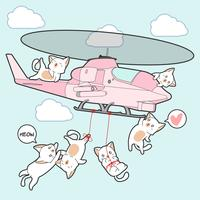 drawn kawaii cats on helicopter in cartoon style.