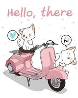 Kawaii 2 white cat with motorcycle