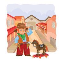 Vectorillustratie van kleine cowboy met een houten paard