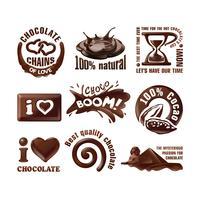 Ange vektorns chokladlogotyper och etiketter.