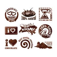 Stel vectorchocoladeemblemen en etiketten in.