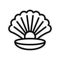 Seashell with pearl vector, tropical related line style icon
