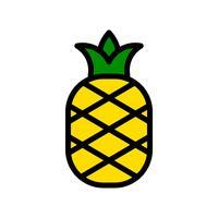 Ananasvektor, tropische in Verbindung stehende gefüllte Artikone