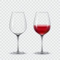 Set verres à vin vecteur transparent