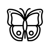 Vetor de borboleta, ícone de estilo de linha tropical relacionados