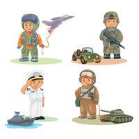 Establecer iconos vectoriales de niños pequeños diferentes profesiones