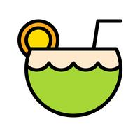 Coconut juice vector, tropical related filled style icon
