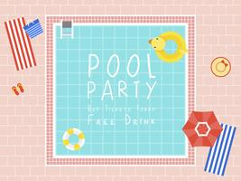 Poolparty, Draufsicht Swimmingpoolvektor