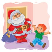 Vector illustration of Santa Claus and little boy