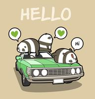 Kawaii pandas on the car