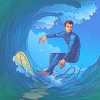 Illustration vectorielle d'un surfeur
