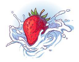 Läcker färsk jordgubbe som faller i grädde eller mjölk.