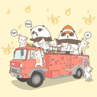 Kawaii cats and panda fire fighter on fire truck in cartoon style.