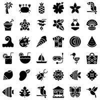 Tropical icon set vector, style solide