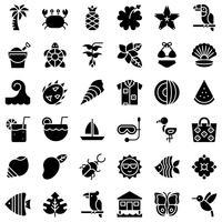 Insieme dell'icona di vettore relativo tropicale, stile solido
